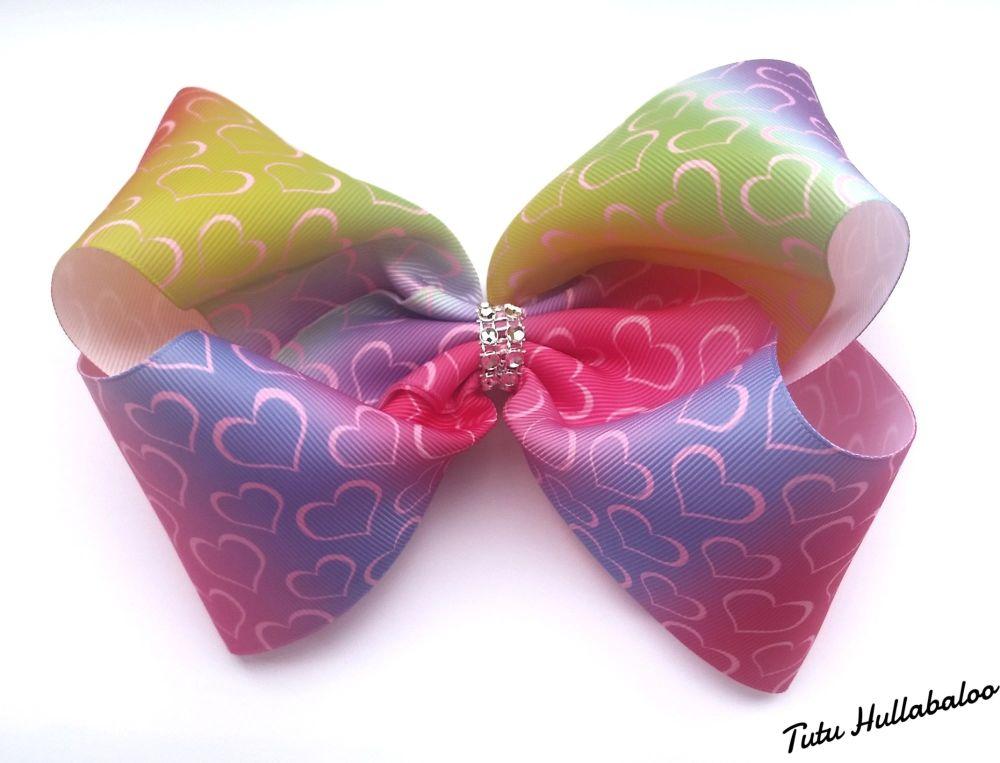 Ombre Mega Bow Rainbow Hearts