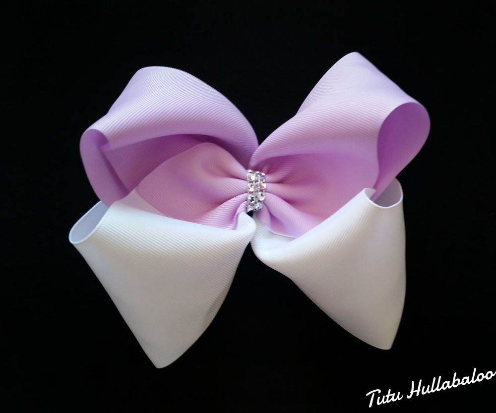 Plain Mega Bow Lilac/White