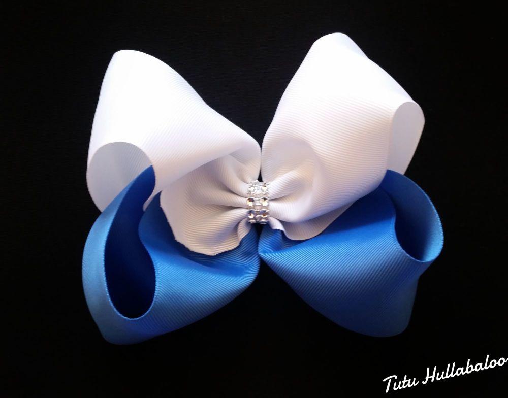 Plain Mega Bow White/Blue