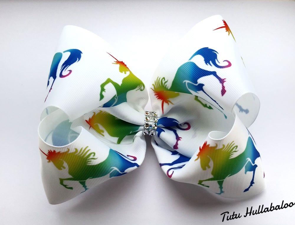 Rainbow Unicorn Mega Bow White