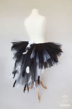 Swan Feathered Tutu Black with White - Adult