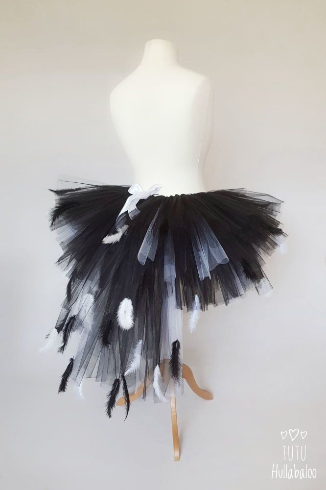 ccac397773 Swan Feathered Tutu Black with White