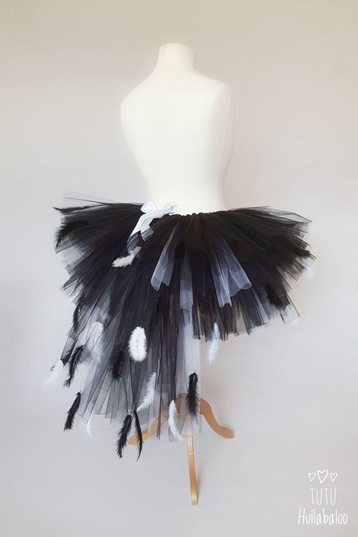 Black Swan with White Feathered Tutu