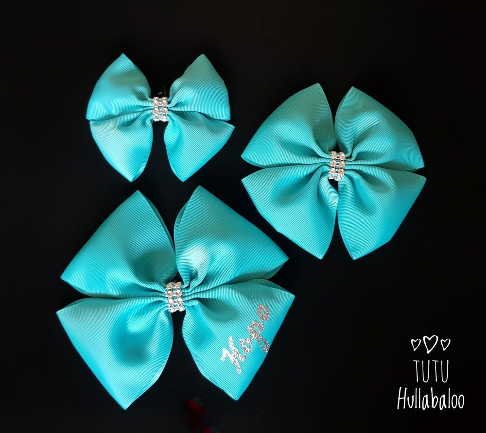 Plain Double Tux Bow Misty Turquoise