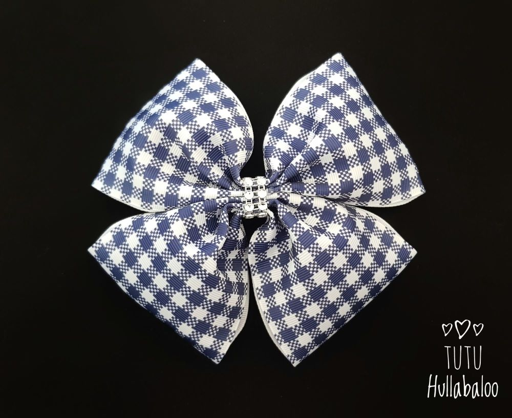 School Checked Double Tux Bow Navy