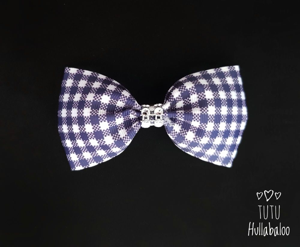 School Checked Tux Bow Navy