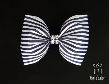 Pinstripe Navy Tux Bow