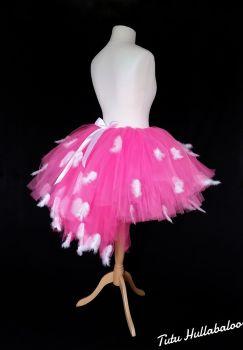 Pink/White Feathered Tail Tutu - Child