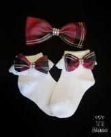Tartan Pink - Fold over sock set