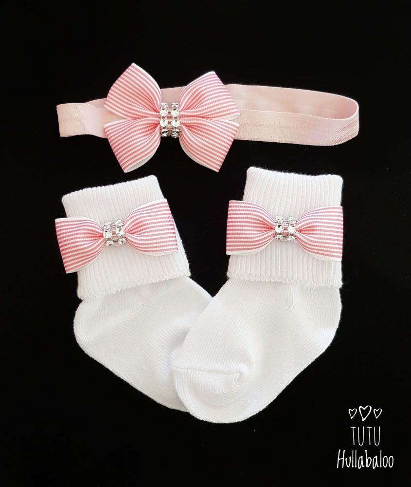 Fold over sock set - Pink Stripe Double Tux