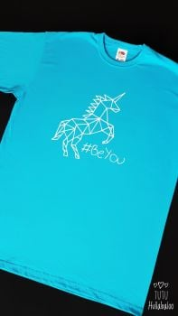 Geometric Unicorn #BeYou Tshirt - Azure Blue/White