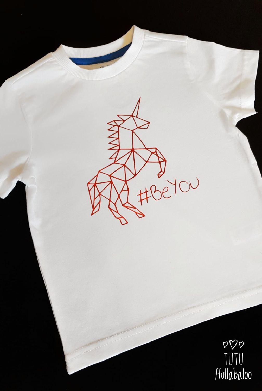 Geometric Unicorn #BeYou Tshirt - White/Red