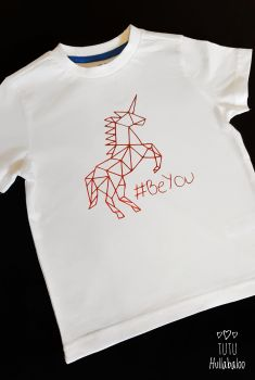 Geometric Unicorn #BeYou Tshirt - White/Red