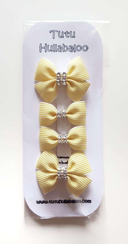 Striped Double Tux Bow Lemon