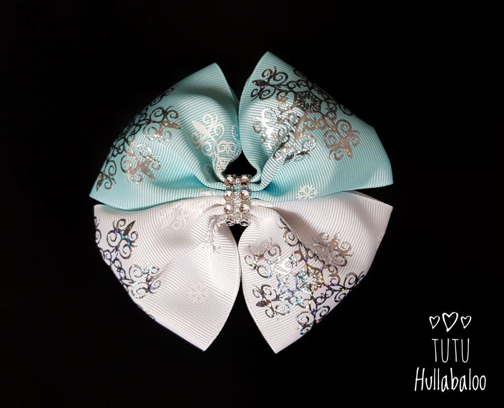 Snowflake Double Tux Bow Blue/White/Silver