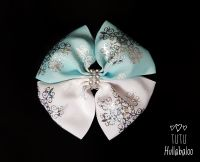 Snowflake Blue/White/Silver Double Tux Bow