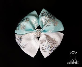 Snowflake Blue/White/Silver Double Tux Bow