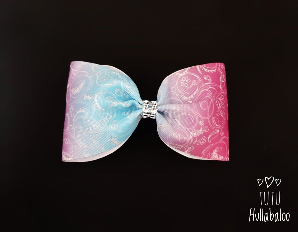 Floral Swirl Tux Bow Lilac/Pink/Blue