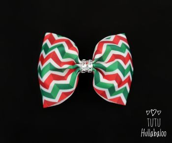 Zig-zag Red/Green Tux Bow