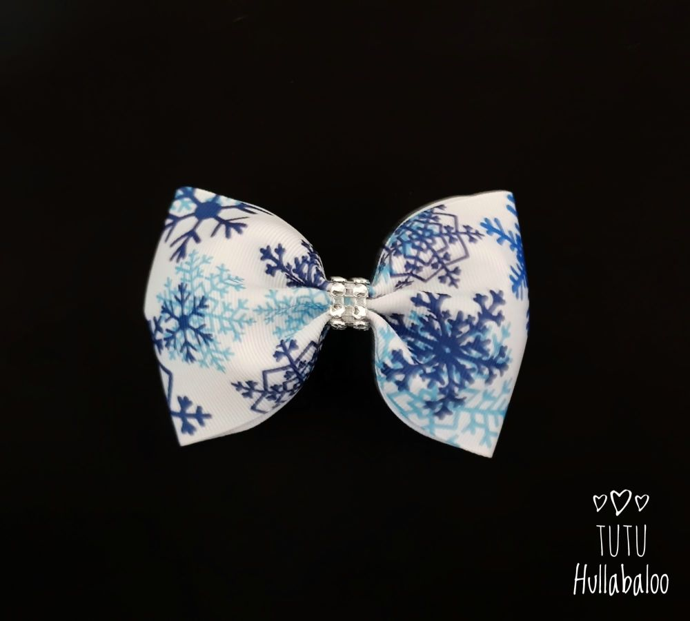 Snowflake Tux Bow Blue/White