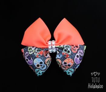 Colourful Skull Double Tux Bow Orange