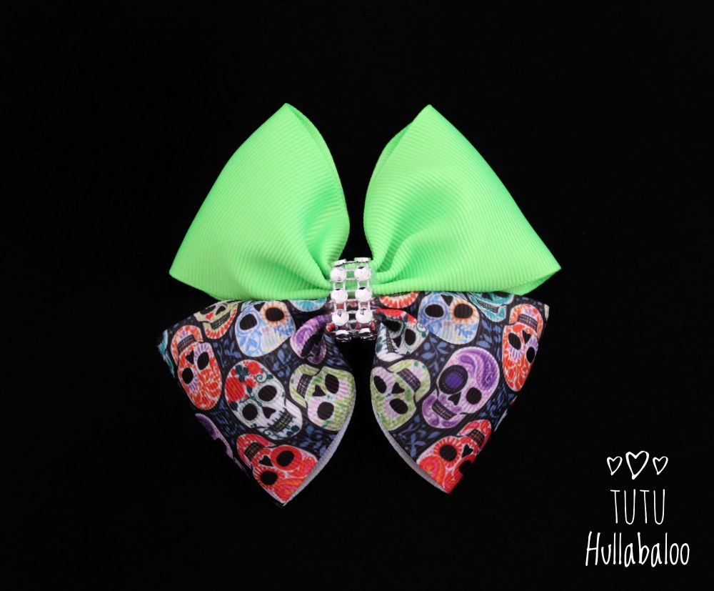 Colourful Skull Double Tux Bow Green