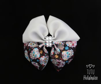 Skulls Grey Double Tux Bow
