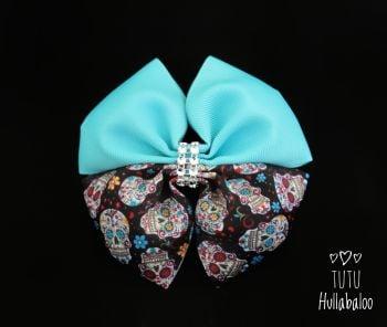 Skulls Misty Turquoise Double Tux Bow