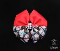 Skulls Red Double Tux Bow