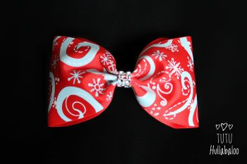 Snowflake Swirls Red/Light Blue Tux Bow