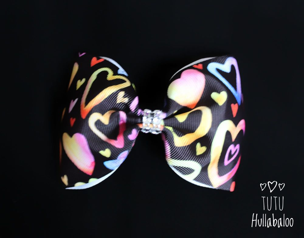 Colourful Hearts Tux Bow