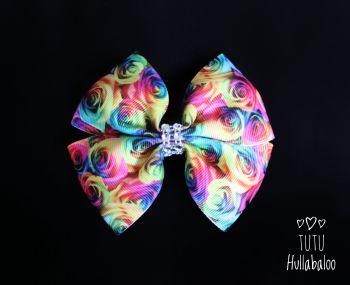 Rainbow Rose Double Tux Bow