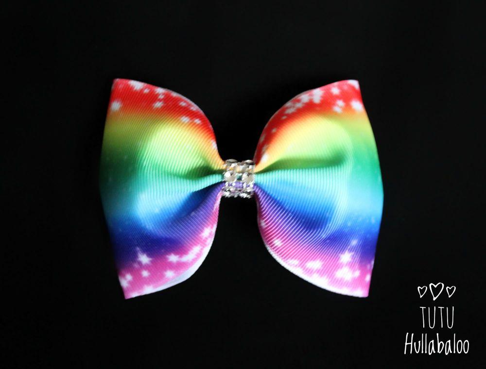 Rainbow Stripes Tux Bow