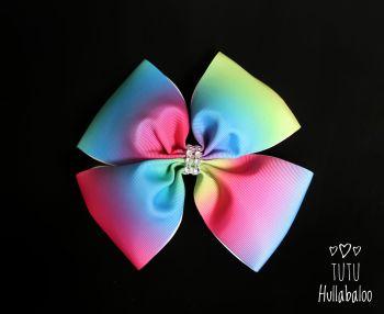 Vertical Rainbow Ombre Double Tux Bow