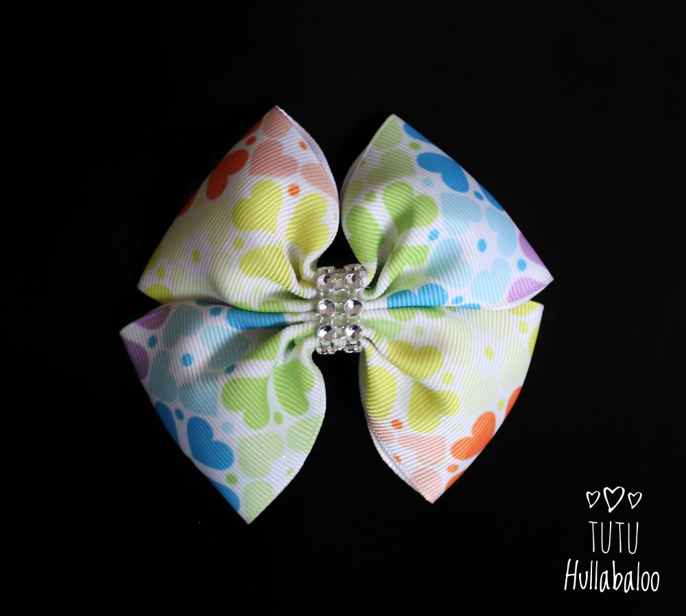 Rainbow Hearts Double Tux Bow