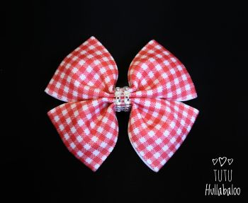 School Checked Red Double Tux Bow