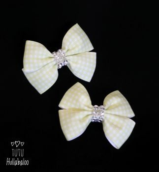 School Checked Yellow Double Tux Bow
