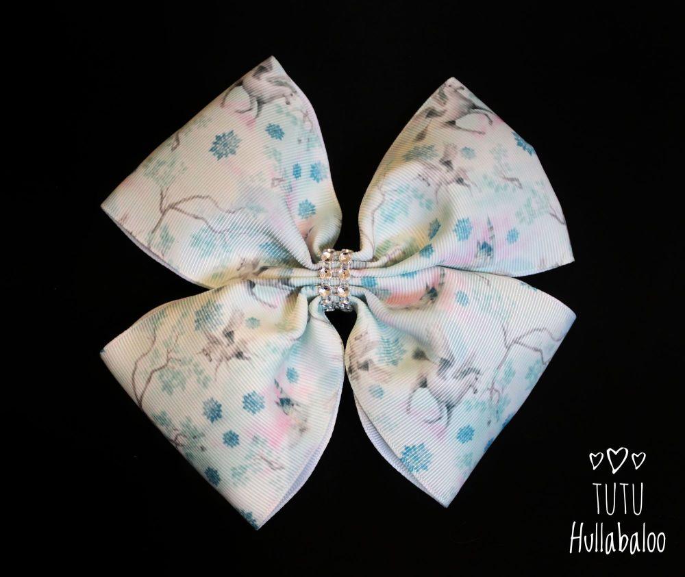 Winter Unicorn Double Tux Bow