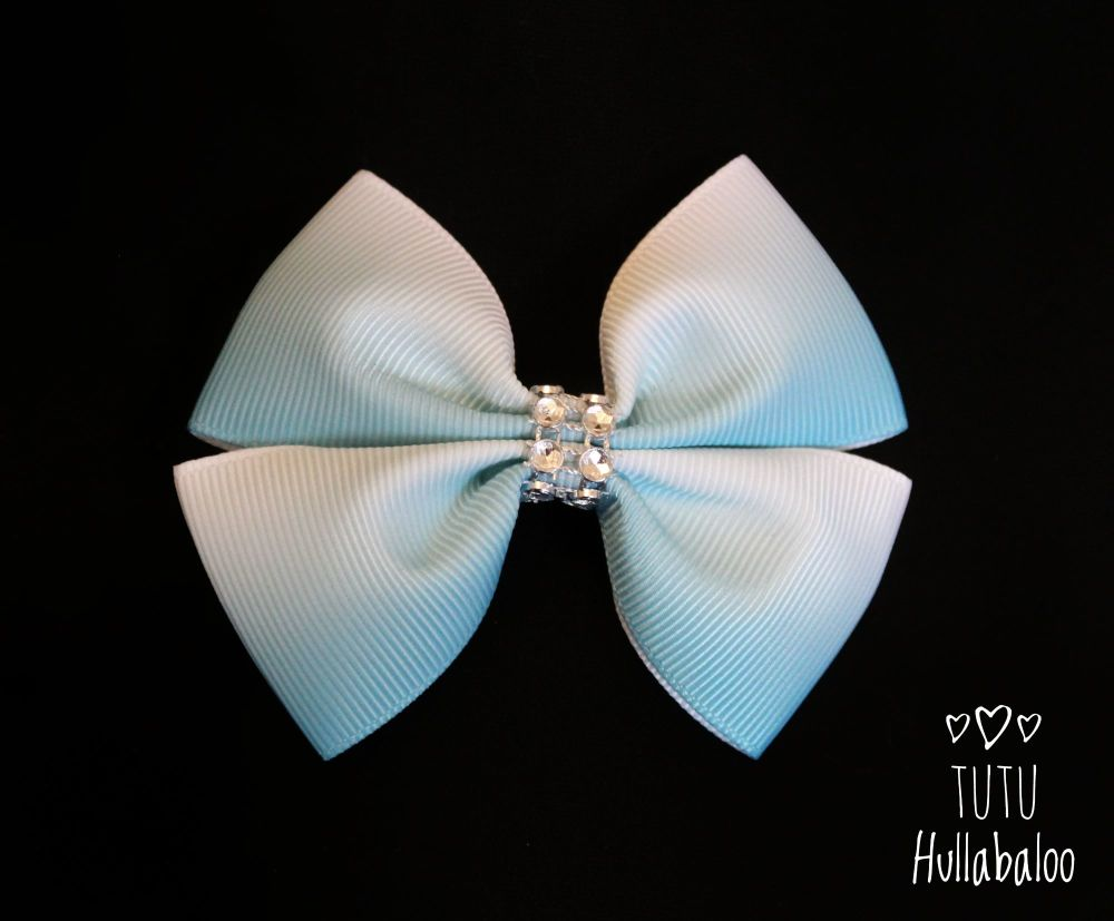Ombre White/Blue Double Tux Bow