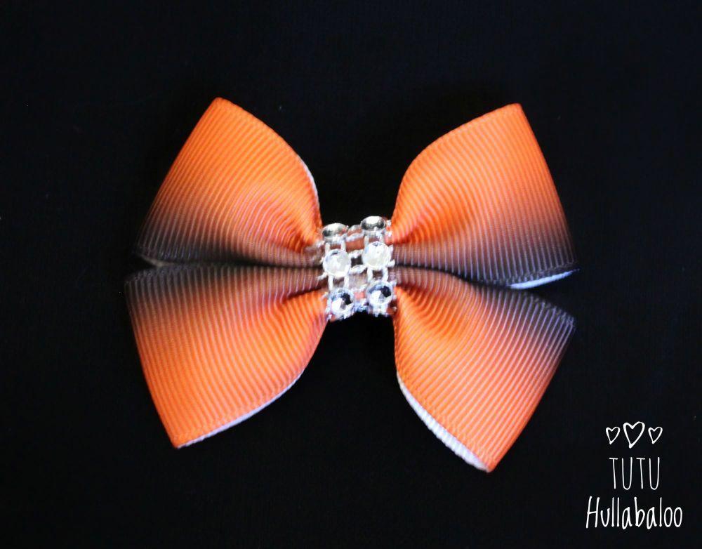 Ombre Orange/Black Double Tux Bow