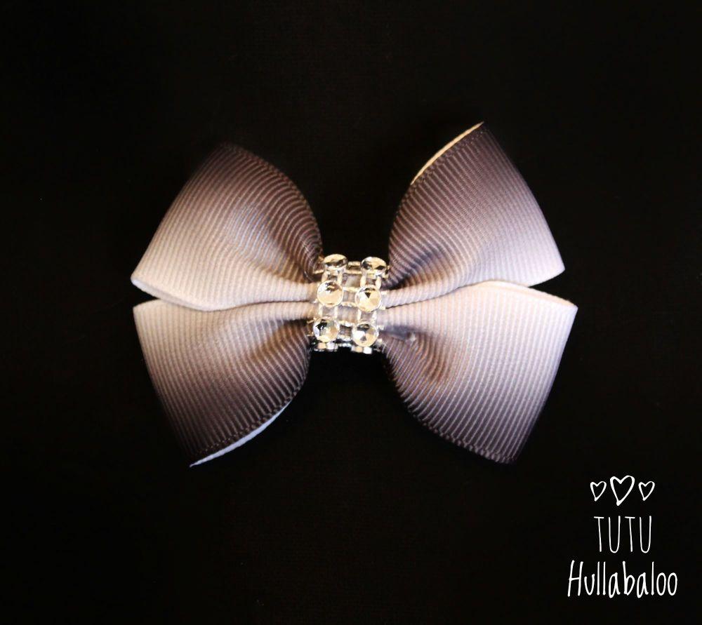 Ombre White/Black Double Tux Bow