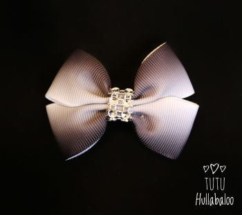 Ombre White/Black Double Tux Bow