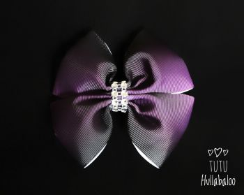 Ombre Purple/Black Double Tux Bow