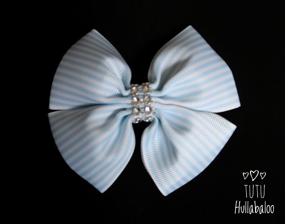 Pinstripe Blue Topaz Double Tux Bow