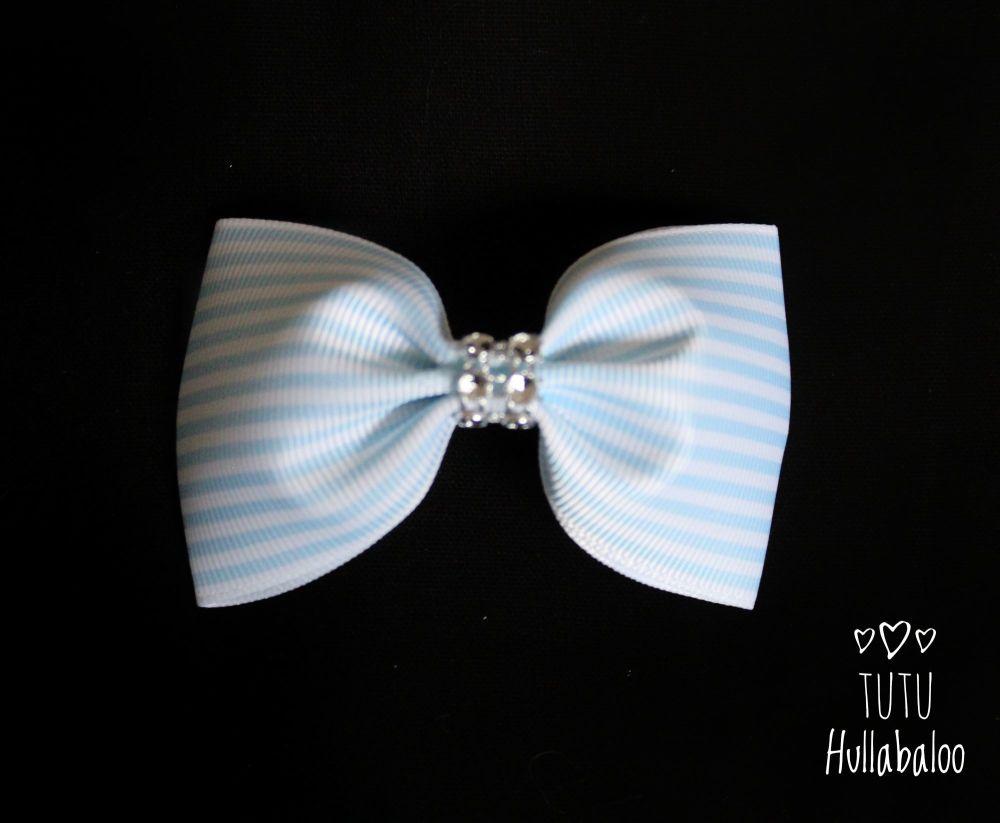Pinstripe Blue Topaz Tux Bow