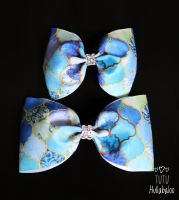 Blue Pattern Tux Bow