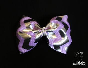 Zig Zag Purple/Silver Tux Bow