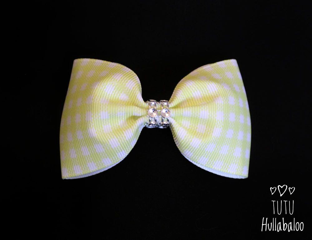 School Checked Yellow Tux Bow
