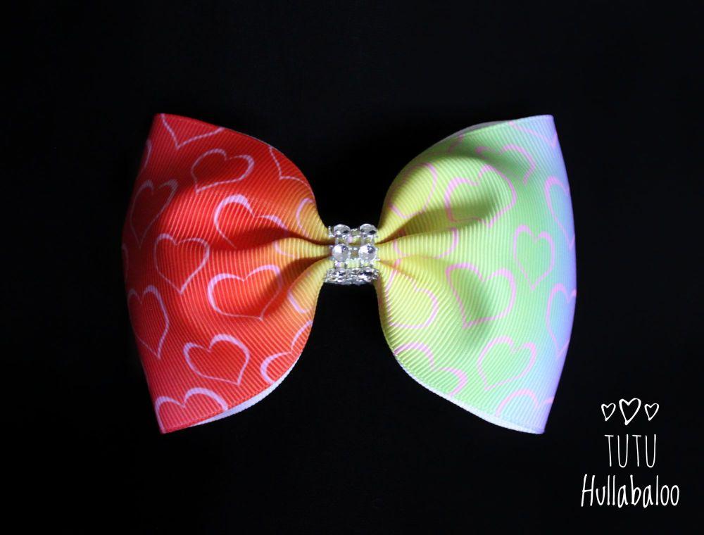 Ombre Rainbow Hearts Tux Bow