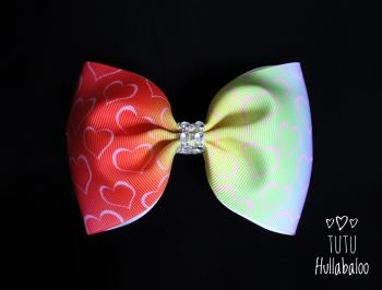 Ombre Rainbow Hearts Tux Bow